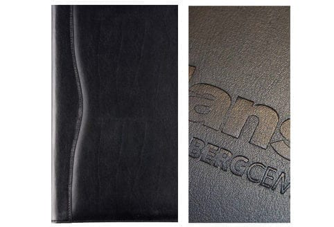 There are several printing options with a Leather Conference Folder, like embossing or foil blocking