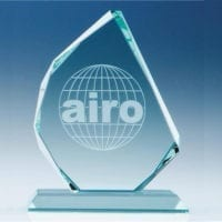 15cm x 15mm Jade Glass Facetted Ice Peak Awards