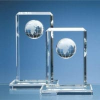 24cm Optical Crystal Globe Rectangle Awards