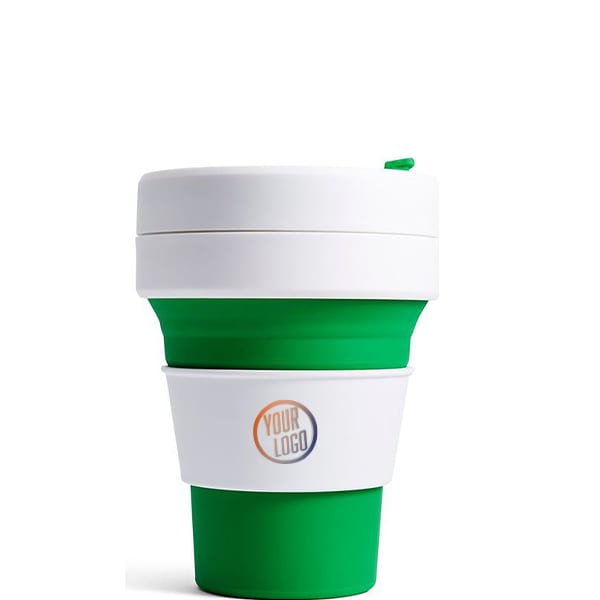 Branded Stojo Pocket Cup 12oz - Green with Logo