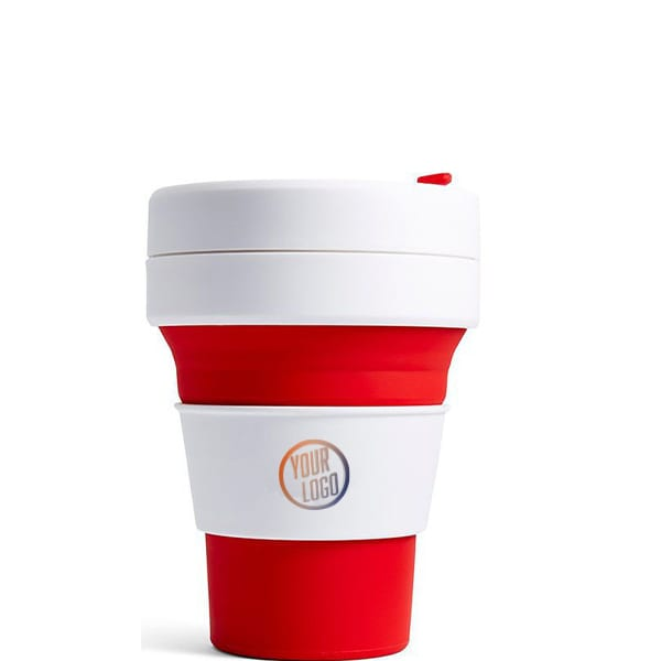 Branded Stojo Pocket Cup 12oz - Red with Logo