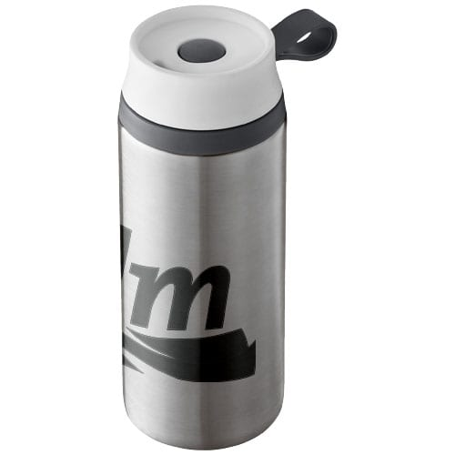 Flow 350ml Foam Insulated Tumblers silver with logo