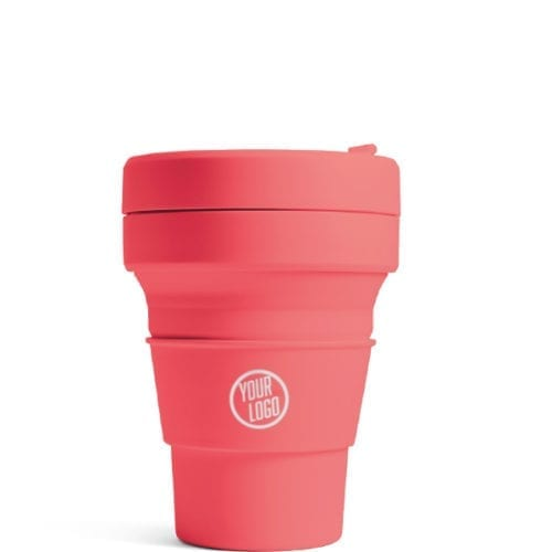 Promotional Stojo Brooklyn Pocket Cup 12oz - Coral with Logo