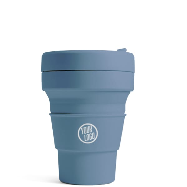 Promotional Stojo Brooklyn Pocket Cup 12oz - Steel Blue with Logo