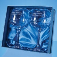 2 Diamante Gin Glasses with Spiral Design Cutting in a Satin Lined Gift Box