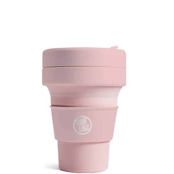 Stojo Brooklyn Pocket Cup 12oz - Carnation with Logo