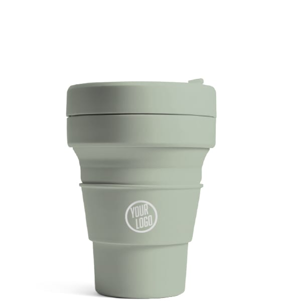 Stojo Brooklyn Pocket Cup 12oz - Sage with Logo
