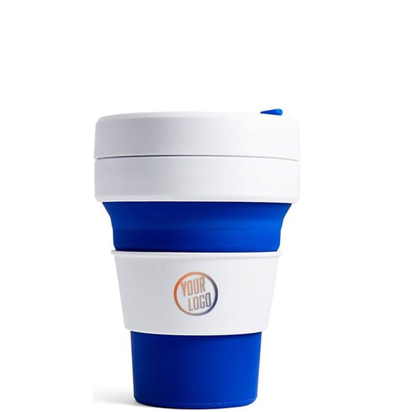 Stojo Pocket Cup 12oz - Blue with Logo