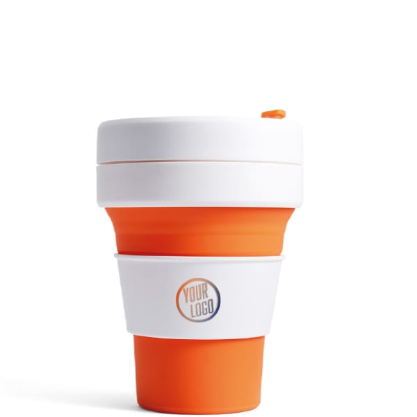 Stojo Pocket Cup 12oz - Orange with Logo