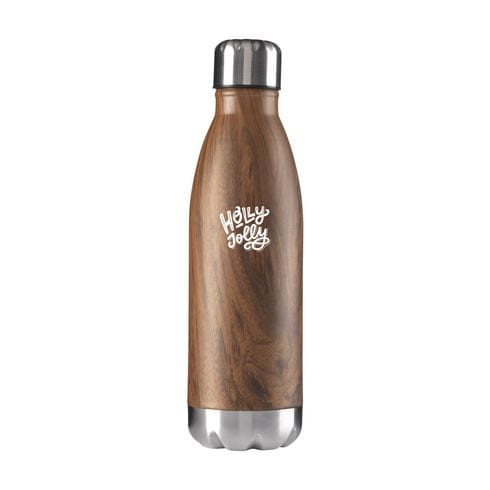 Wood Topflask bottle with engraved logo