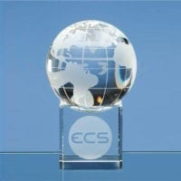 6cm Optical Crystal Globes on Clear Base