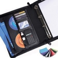 Belluno PU A4 Deluxe Zipped Folders With Calculator