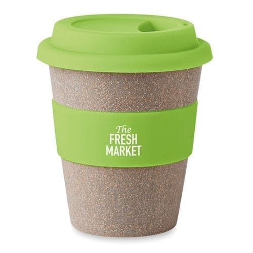 A travel mug made from bamboo with rubber lid and branded strap.