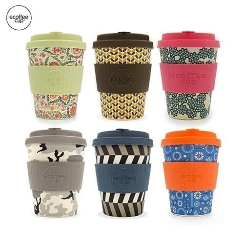 Multicoloured eco-friendly travel mugs with the option to brand too.