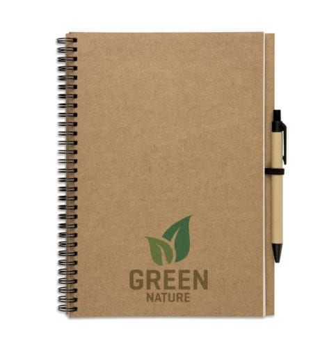 A recycled brown notebook with spiral bound and matching pen