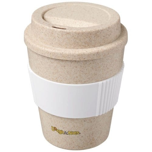 Travel mug made from wheat straw for sustainble and branding purposes