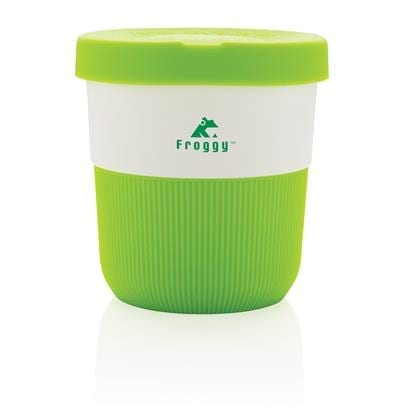 A small travel mug made from sustainable materials and branded.