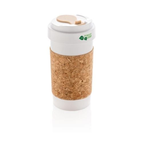 Sustainable travel mug made with a cork sleeve for businesses