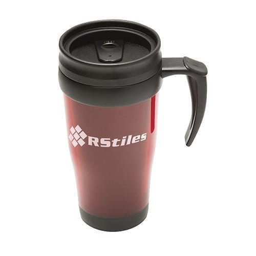 A red and black insulated thermal mug with handle and options to brand.