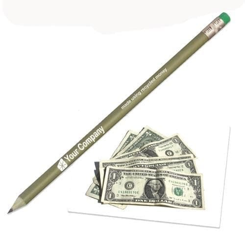 Recycled money pencil with eraser