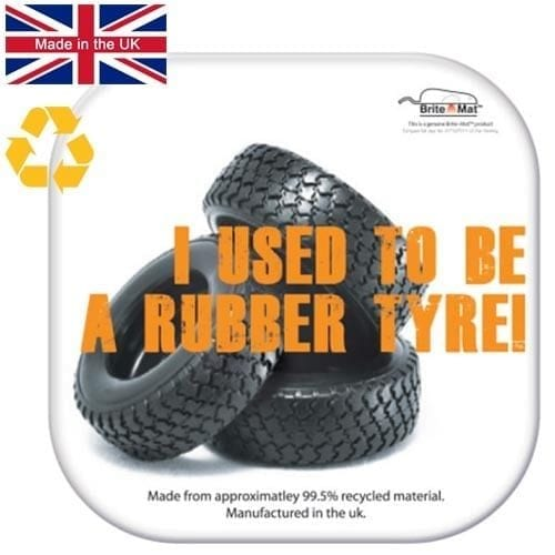 Drinks coasters made out of recycled rubber tyres