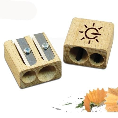 Recycled wood pencil sharpeners with branding engraved